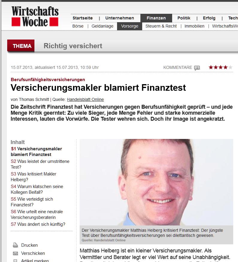 """Wirtschaftswoche Wiwo: """"Leute, die sich auskennen. Wie Versicherungsmakler Helberg."""""""