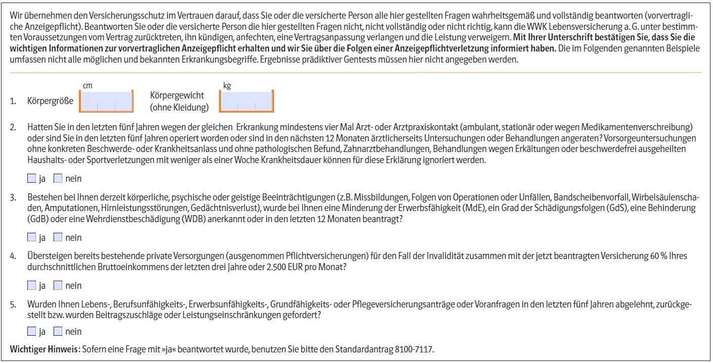 WWK Berufsunfaehigkeitsversicherung BioRisk: Gesundheitsfragen im Aktionsantrag 2014